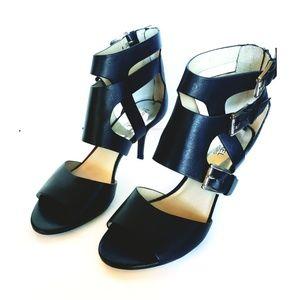 Michael Kors Black Caged Sandal Heels Buckle Strap